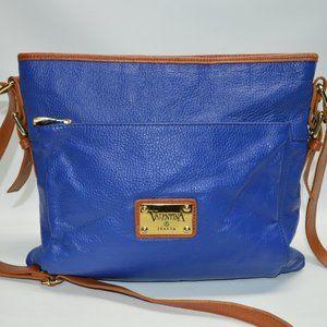 Valentina Italian Leather Zip Royal Blue Crossbody
